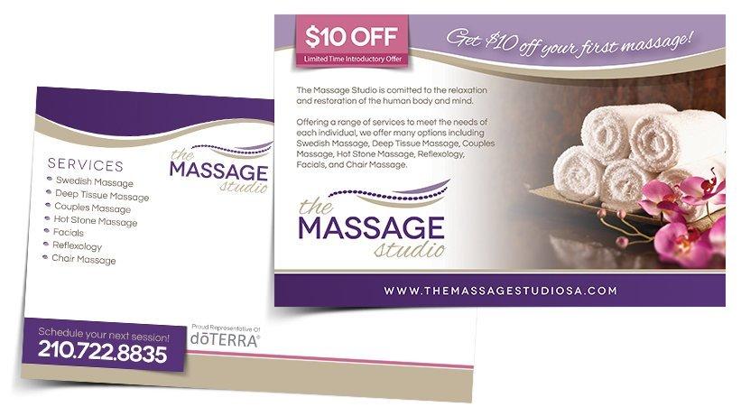 The Massage Studio Postcard Design